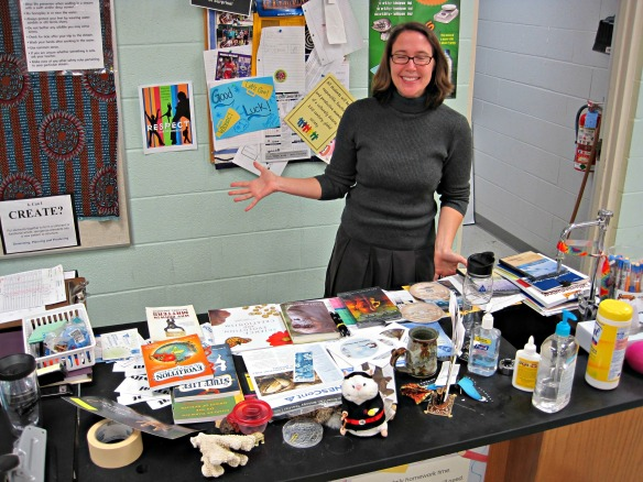 Teacher Amanda Clapp shows the education resources brought by the Roadshow