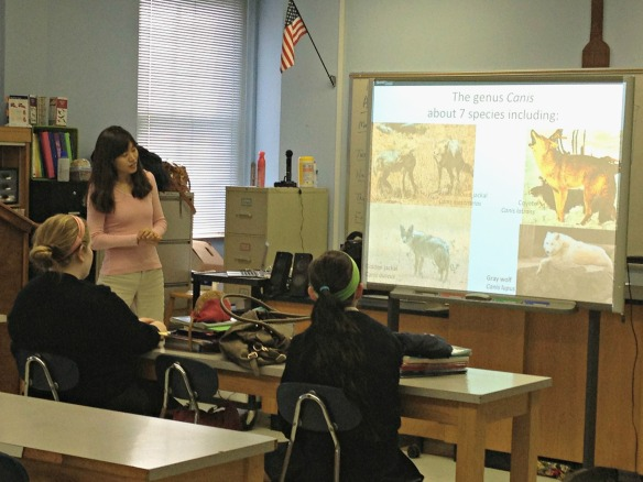 Mira discusses evolution of dogs with students at Presentation Academy