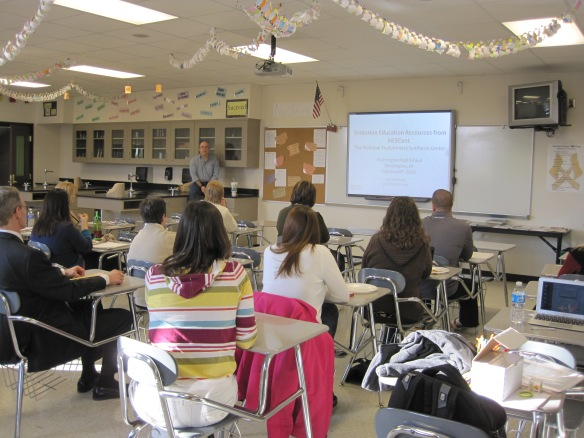 Jory leads a professional development workshop for high school and college biology instructors